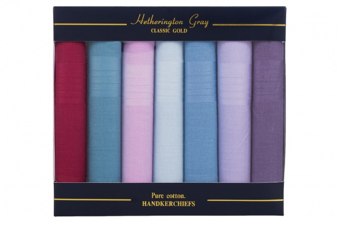 7 Pack Plain Multi-Coloured Handkerchiefs